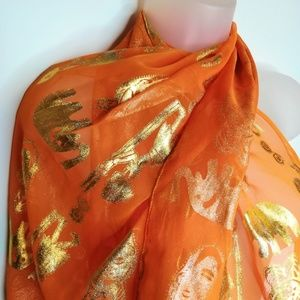 African Print Scarf Chiffon Orange Gold Elephant